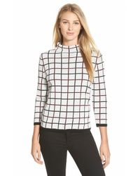 Halogen | Natural Windowpane Print Merino Blend Sweater | Lyst