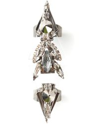 Vickisarge | Metallic Long Cocktail Ring | Lyst