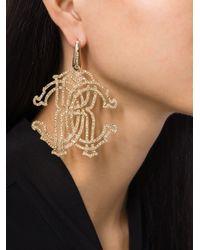 Roberto Cavalli | Metallic 'rc' Swarovski Strass Earrings | Lyst