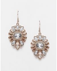 Lipsy | Metallic Deco Crystal Drop Earrings | Lyst