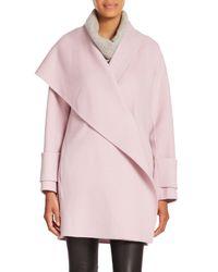 Vince - Pink Asymmetric Drape-neck Wool Coat - Lyst