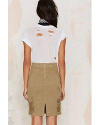 Nasty Gal - Natural Stella Denim Pencil Skirt - G.i. - Lyst