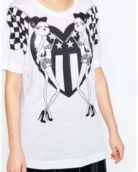 Love Moschino | White Racing Flags T-shirt | Lyst