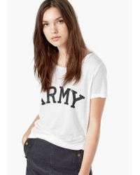 Mango - White Printed Text T-shirt - Lyst