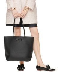 kate spade new york | On Purpose Black Leather Tote | Lyst