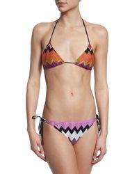Missoni - Multicolor Metallic Knit Zigzag Printed String Bikini - Lyst
