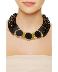 Marni - Embellished Leather Necklace in Black - Lyst