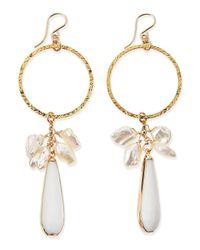 Devon Leigh | Metallic Hoop Earrings With Pearls & White Jade | Lyst