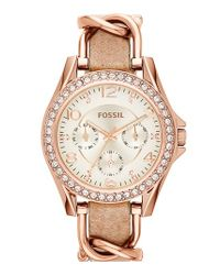 Fossil - Pink 'riley' Crystal Bezel Leather Strap Watch - Lyst
