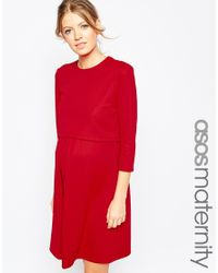 ASOS - Black Nursing Textured Skater Dress With 3/4 Sleeve - Lyst
