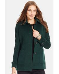 Lauren by Ralph Lauren | Green Wool Blend Barn Jacket | Lyst
