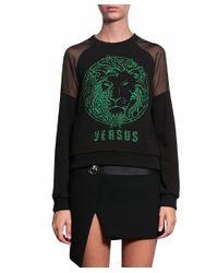 Versus - Green Embroidered Cotton Jersey Sweatshirt - Lyst
