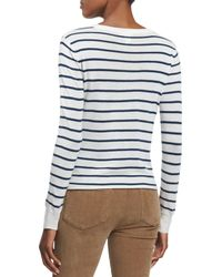 PAIGE - White Allie Long-sleeve Striped Sweater - Lyst