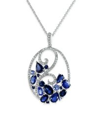 Effy - Blue Royale Bleu Ceylon Sapphire, Diamond And 14k White Gold Pendant Necklace - Lyst
