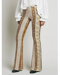 Free People | Yellow Border Print Bell Bottoms | Lyst