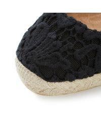Dune Black - Black Lambo Fabric Round Toe Wedge Espadrilles - Lyst