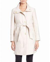 Ellen Tracy | White Belted Stand-collar Coat | Lyst