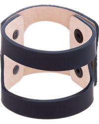 Lanvin | Blue Navy Calf Hair and Leather Bracelet for Men | Lyst