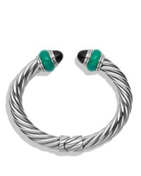 David Yurman - Metallic Cable Classics Bracelet With Black Onyx & Green Onyx - Lyst