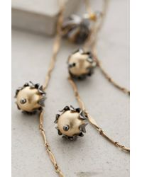Anthropologie - Metallic Pearled Rosebud Necklace - Lyst