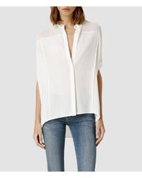 AllSaints - White Fleet Shirt - Lyst