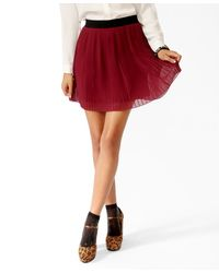 Forever 21 - Purple Pleated Contrast Waist Skirt - Lyst