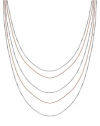 Lord & Taylor | Metallic Two-tone Sterling Silver Tiered Strand Necklace | Lyst