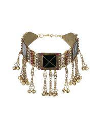 TOPSHOP - Metallic Square Chain Tassel Collar - Lyst