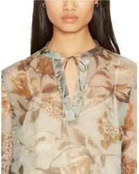 Lauren by Ralph Lauren | Gray Petite Sheer Floral Blouse And Camisole | Lyst