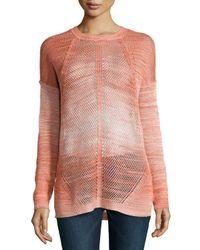 Haute Hippie - Orange Dyed-mesh Long-sleeve Sweater - Lyst
