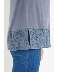 Forever 21 - Blue Lace-paneled Hem Top - Lyst