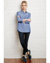 Forever 21 | Blue Classic Chambray Shirt You've Been Added To The Waitlist | Lyst