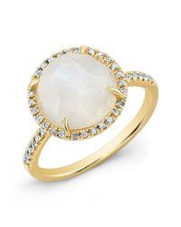 Anne Sisteron - 14kt Yellow Gold Rainbow Moonstone Diamond Cocktail Ring - Lyst