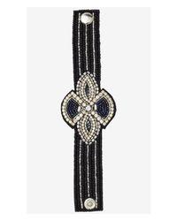 Express - Black Rhinestone And Seed Bead Snap Bracelet - Lyst