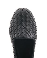 Bottega Veneta - Black Intrecciato Woven Leather Slippers - Lyst