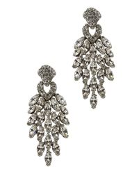 Ben-Amun | Metallic Silver Tone Swarovski Crystal Embellished Drop Earrings | Lyst