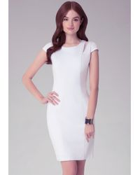 Bebe - White Ponte & Organza Dress - Lyst