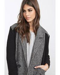 Forever 21 - Gray Sweater-knit Herringbone Jacket - Lyst