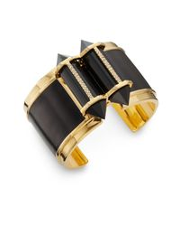 CC SKYE - Black Onyx Leather Inlay Cuff Bracelet - Lyst