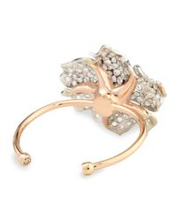 Nina Runsdorf - Metallic White And Cognac Diamond Flower Cuff Bracelet - Lyst
