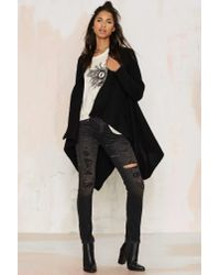 Nasty Gal | Black Cold Front Drape Cardigan | Lyst
