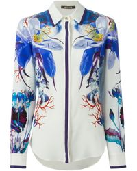 Roberto Cavalli | White Flower Print Shirt | Lyst