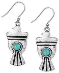 Lucky Brand | Blue Silver-tone Stone Bird Earrings | Lyst