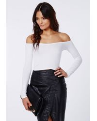 ce99a4ca4cf7e Missguided Carrisa Long Sleeve Jersey Bardot Crop Top White in White ...