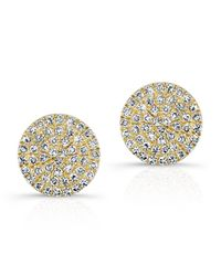 Anne Sisteron | Metallic 14kt Yellow Gold Diamond Medium Disc Stud Earrings | Lyst