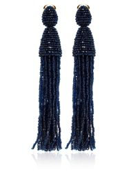 Oscar de la Renta | Blue Long Beaded Tassel Earrings | Lyst