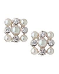 Majorica - White Cubic Zirconia & 5/6Mm Pearl Earrings - Lyst