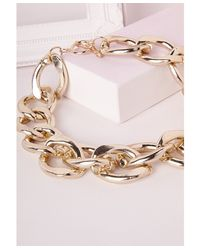 Missguided | Metallic Madonna Chunky Statement Chain Necklace Gold | Lyst
