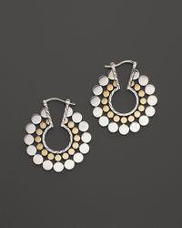 John Hardy - Yellow Dot Gold And Silver Medium Side Facing Hoop Earrings - Lyst
