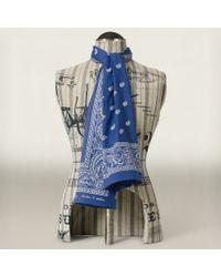 RRL   Blue Paisley Cotton Scarf for Men   Lyst